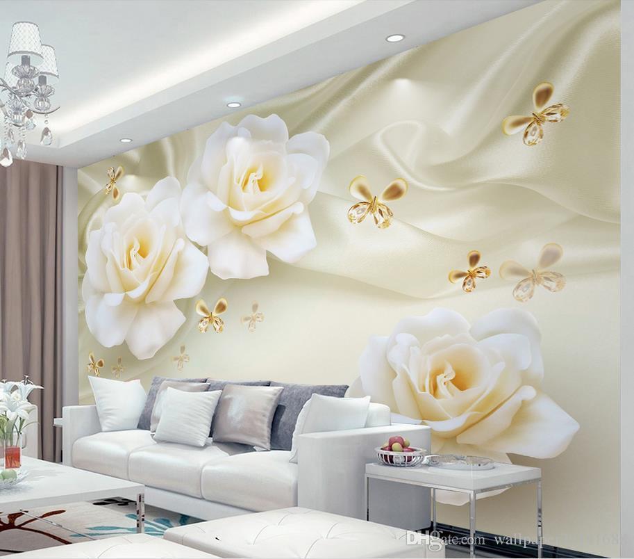 decoração da casa decoração de moda para o quarto rosas fundo morno TV seda mural 3d papel de parede 3d papéis de parede para TV pano de fundo