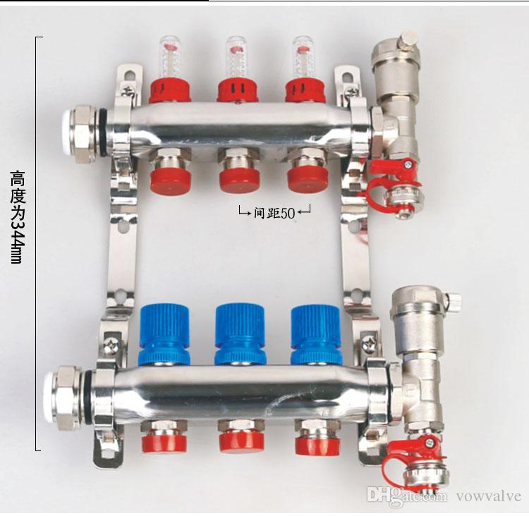 2019 304 Stainless Steel Underfloor Heating Manifold With Flowmeter