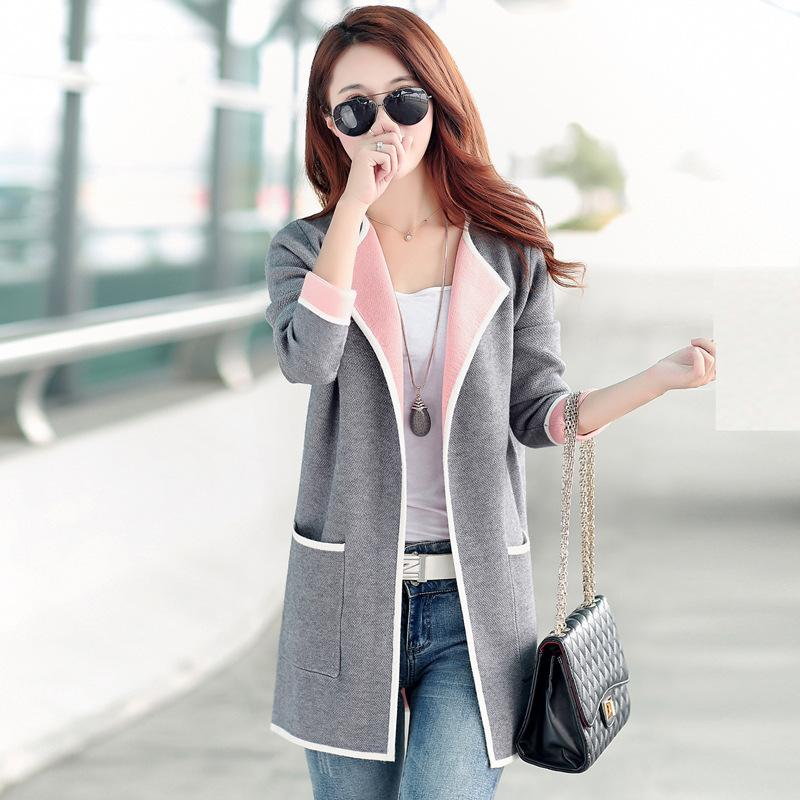 2019 Wholesale Long Sweaters 2016 Women New Autumn All Match Patchwork Full  Sleeve Slim Pocket Knitted Cardigan Sweater M XXXL From Feiyancao 32a188a8d