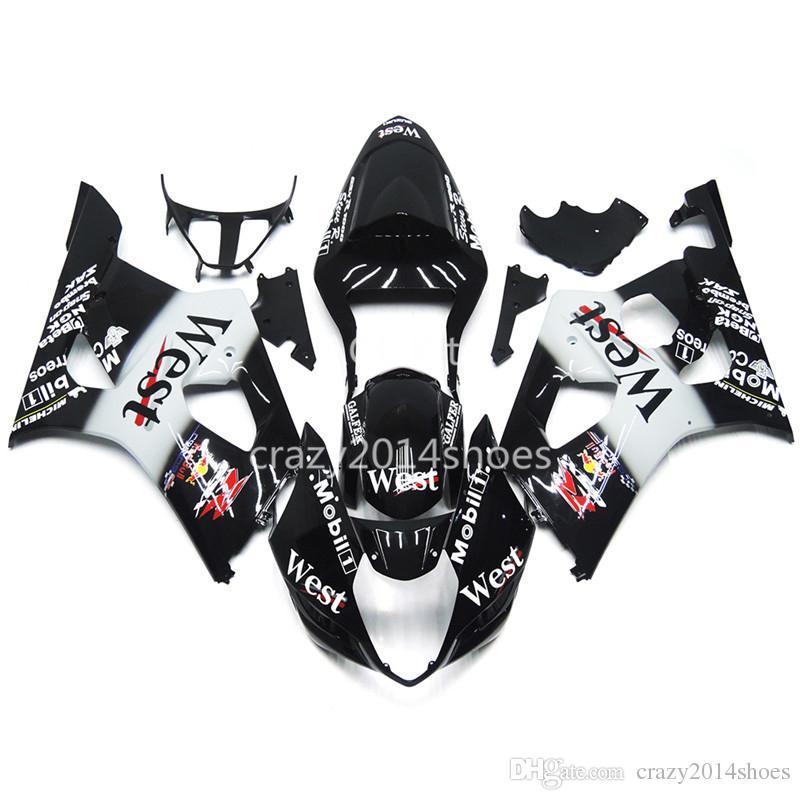 5 brindes novos kits de carenagem da motocicleta abs 100% apto para suzuki gsxr1000 03 04 k3 gsxr1000 2003 2004 nice preto e branco agradável 140