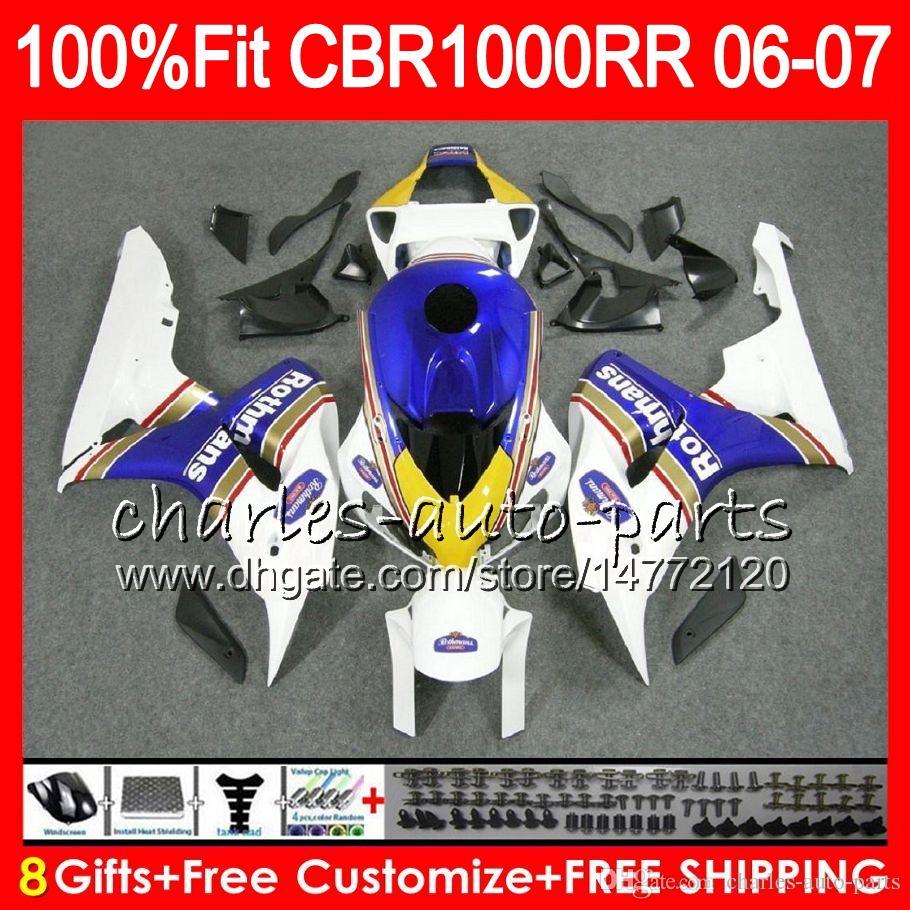 Injection Body For HONDA CBR 1000RR CBR1000 RR 06 07 BodyworkRothmans Blue 78HM2 CBR1000RR 06 07 CBR 1000 RR 2006 2007 Fairing kit 100% Fit