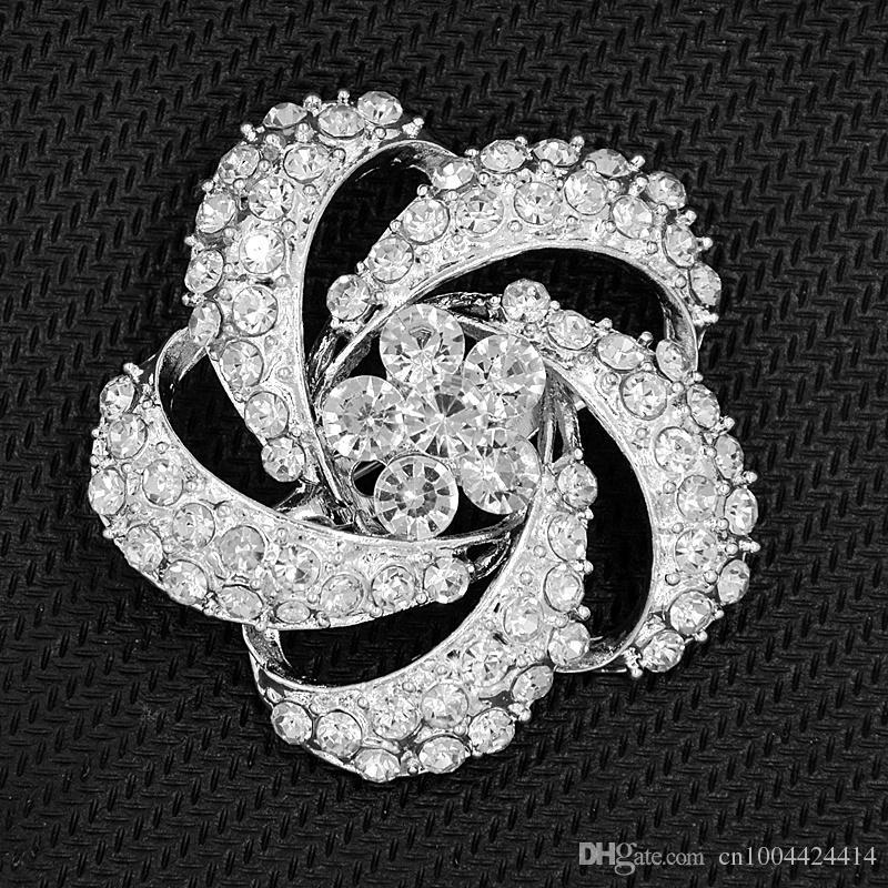 Silver Plated Alloy Clear Crystal Flower Women Brooch Classic Fashion Style Wedding Bouquet Brooch Elegant Lady Party Pins