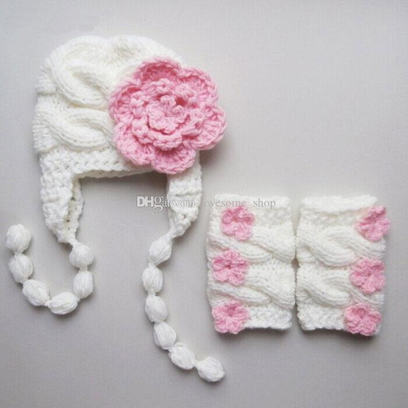 2019 Lovely White Pink Baby Girl Outfit,Handmade Knit Crochet Baby ...