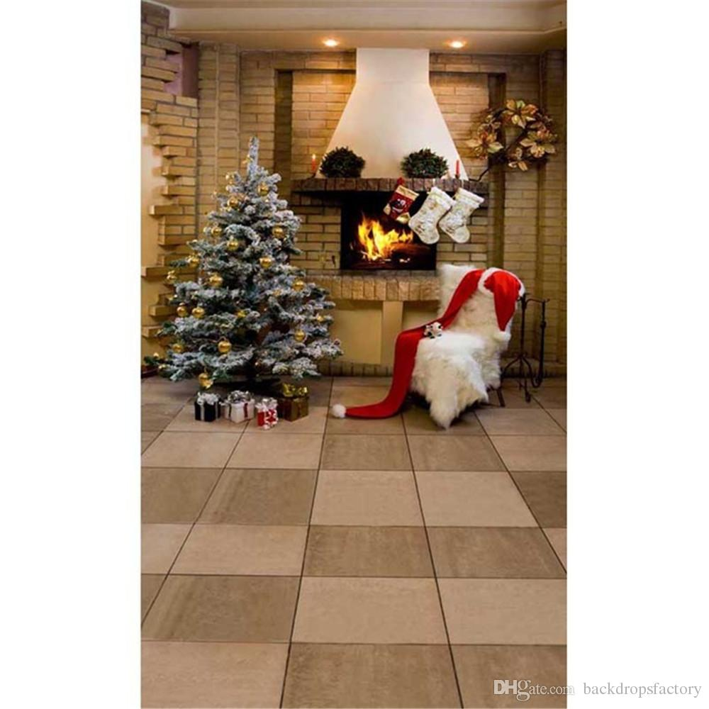 2017 indoor house brick fireplace christmas tree backdrop for