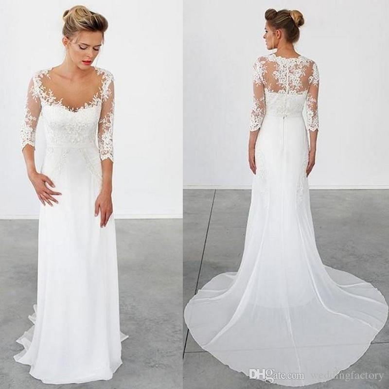 2016 Sheath Beach Wedding Dress Illusion Top Country Style Lace ...