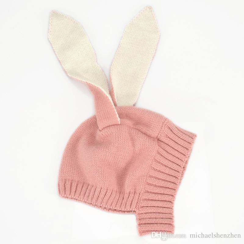 INS Autumn Winter Toddler Infant Knitted Baby crochet Hats Adorable Rabbit Long Ear Hat Baby Bunny Beanie Caps Photo Props B001