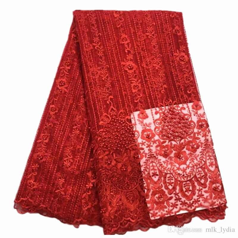 2018 Very Good Quality Applique Design Lace Fabric Beaded Tulle French Lace With 3D Flowers Big Party Dress Lace Red Color