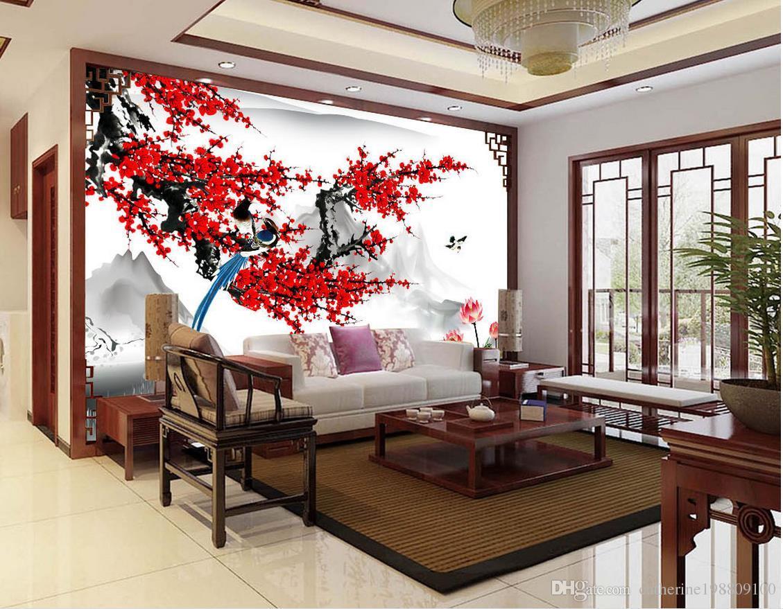 Großhandel Moderne Tapeten Für Wohnzimmer Chinesischen Stil Pflaumenblüte  Tuschmalerei Wand Moderne Tapete Für Wohnzimmer Von Catherine198809100, ...