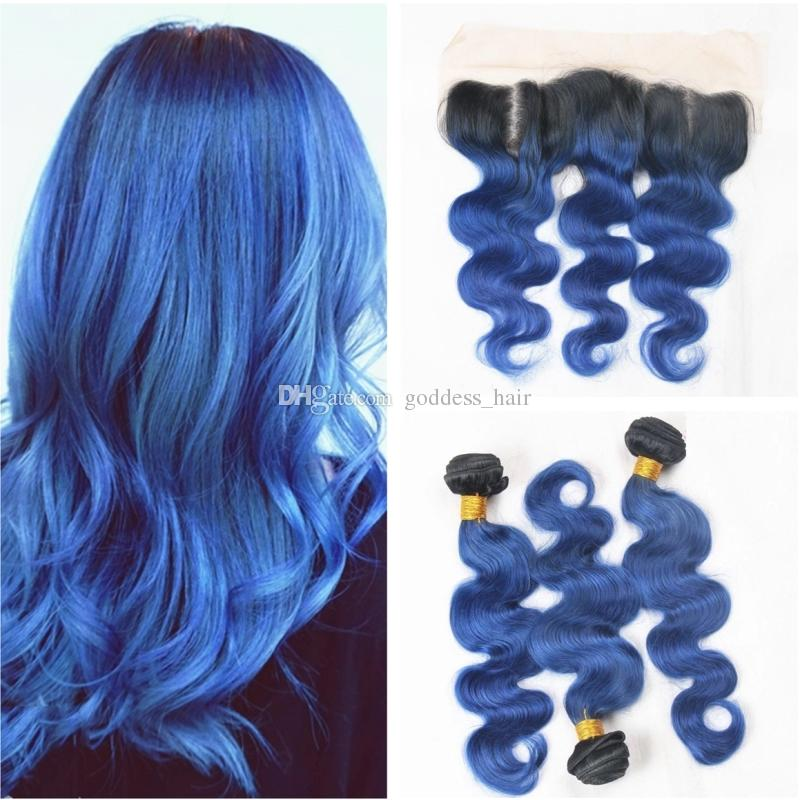 Ombre Color Body Wave 1b Blue Hair 3 Bundles With Ear To Ear Frontal