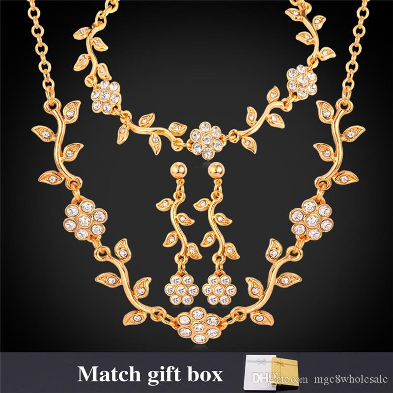 dbca6b8b95 2019 U7 Luxury Leaf Clear Austrian Rhinestone Necklace Bracelets Earrings  Set Gold/Platinum Plated Fashion Women Jewelry Set Perfect Gifts H5175 From  ...