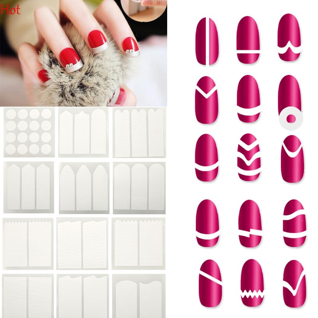 Girl Women French Manicure Nail Sticker Diy Stencil Nail Art Form ...