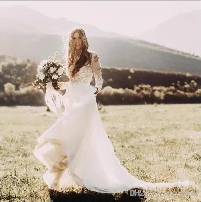 Bohemian Country Wedding Dresses Bridal Gowns Long Sleeves Boho Wedding Dress Lace Appliques Chiffon A Line vestidos de novia