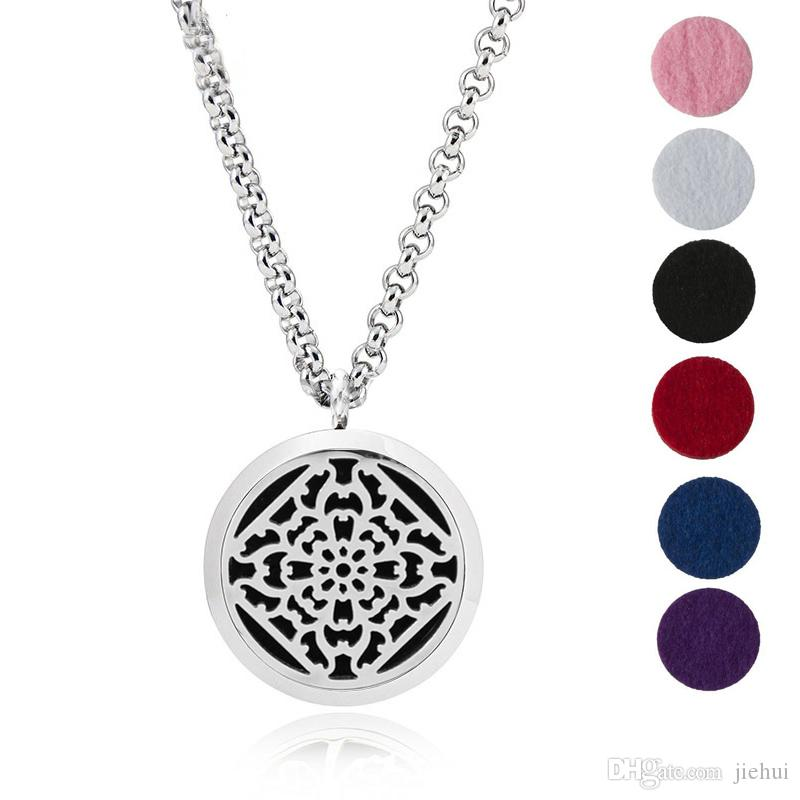 Aromatherapy Essential Oil Diffuser Necklace Jewelry -30mm Hypoallergenic 316L Surgical Grade Stainless SteelSend Chain and 6 Felt Pad Y2