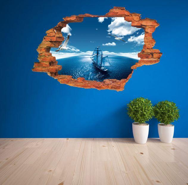 Spedizione gratuita: 50 * 70 cm 3D Seascape PVC Adesivo / Adesivo e rimovibile adesivi murali barche Carta da parati Murale Art Home Decor Accessori
