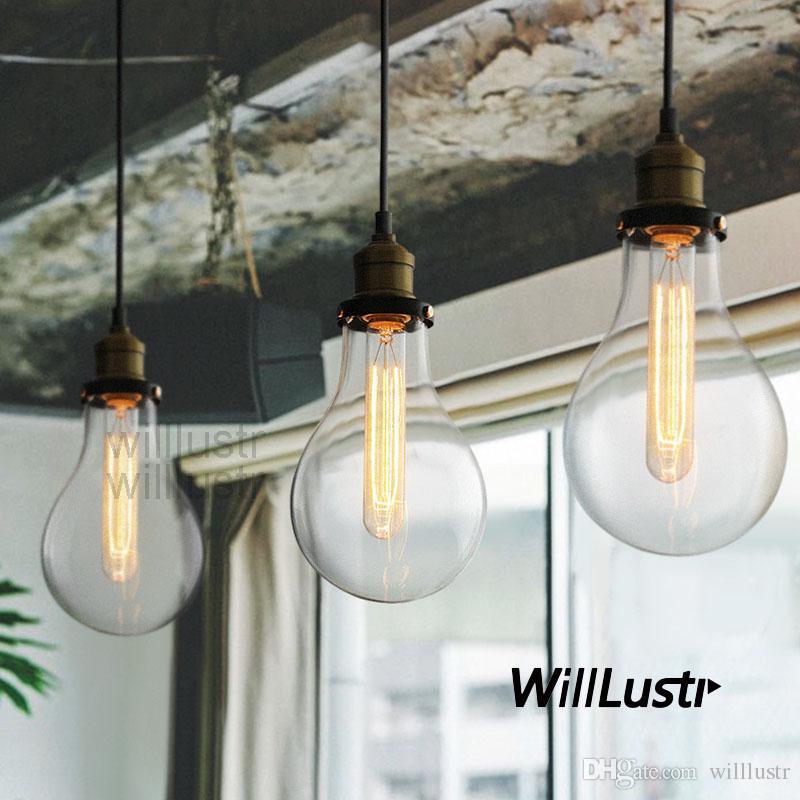 Teardrop Clear Glass Filament Single Pendant Lamp Hanging Lighting Water Drop Transpa Vintage Bulb Loft Bar Suspension Light Mega Island