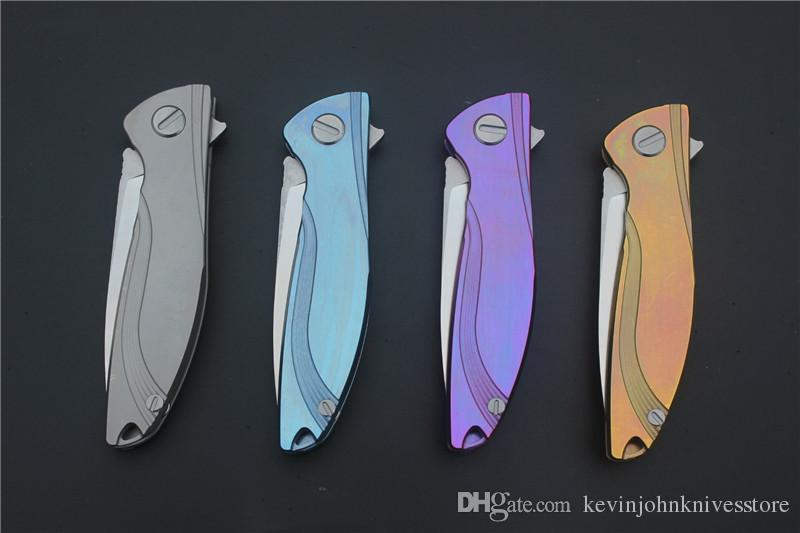 Neon ceramic ball bearing D2 titanium flipper folding Kitchen Fruit camp hunting outdoor survive Utility Tactical knife EDC tool