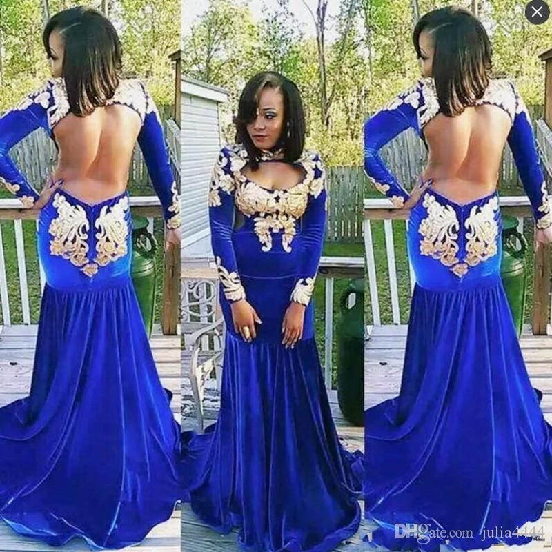 Royal Blue African Long Sleeves Evening Gowns High Neck Gold Appliques Mermaid Prom Dresses Velvet Sexy Open Back Cocktail Party Dress