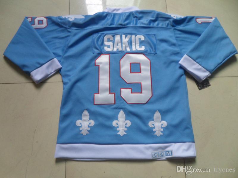 Mens Quebec Nordiques Hockey maglie 19 Joe Sakic Baby Blue Blue Stitched Jersey Colorado Avalanche Vintage CCM Burgundy Shirts c Patch