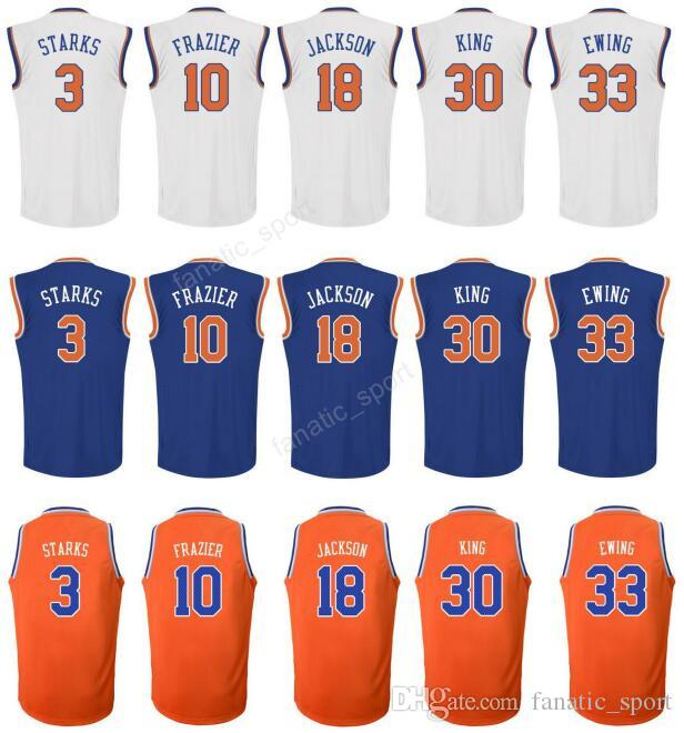cheap for discount 61feb b376c Men Printed 33 Patrick Ewing Basketball Jerseys 3 John Starks 30 Bernard  King 10 Walt Frazier 18 Phil Jackson White Orange Blue Top Quality