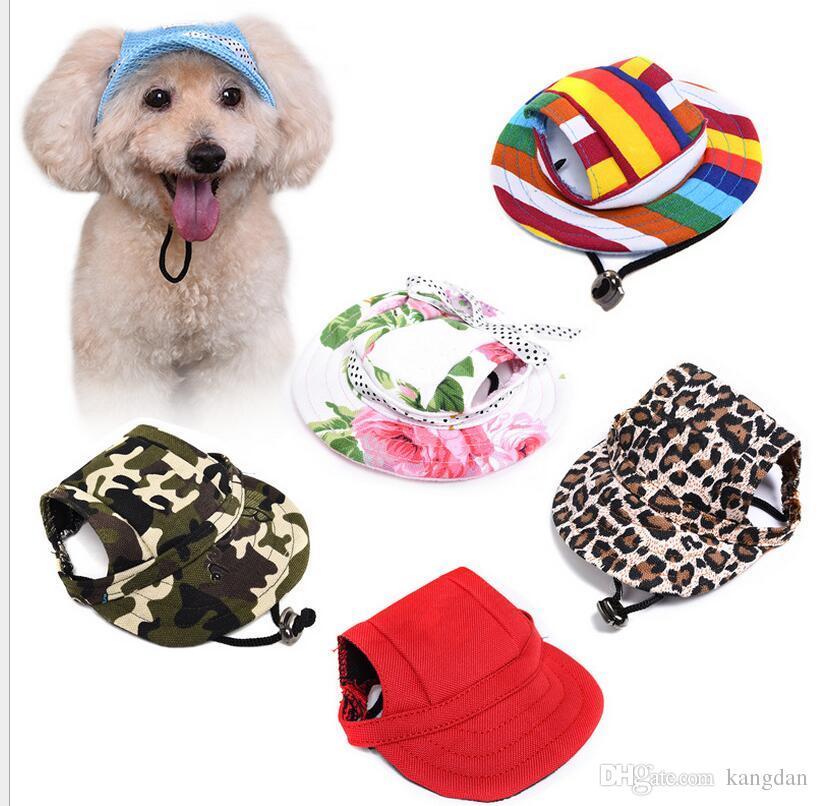Pet Köpek kedi Şapka Kulak Delikleri Ile Yaz witner Tuval Beyzbol Şapkası moda bebek şapka Açık Aksesuarları Yürüyüş Pet kostümleri kedi bere