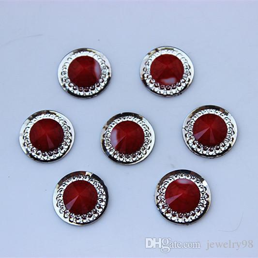 16mm doppio colore rotondo perle di resina di cristallo posteriore piatta strass gioielli accessori scrapbook craft ZZ23