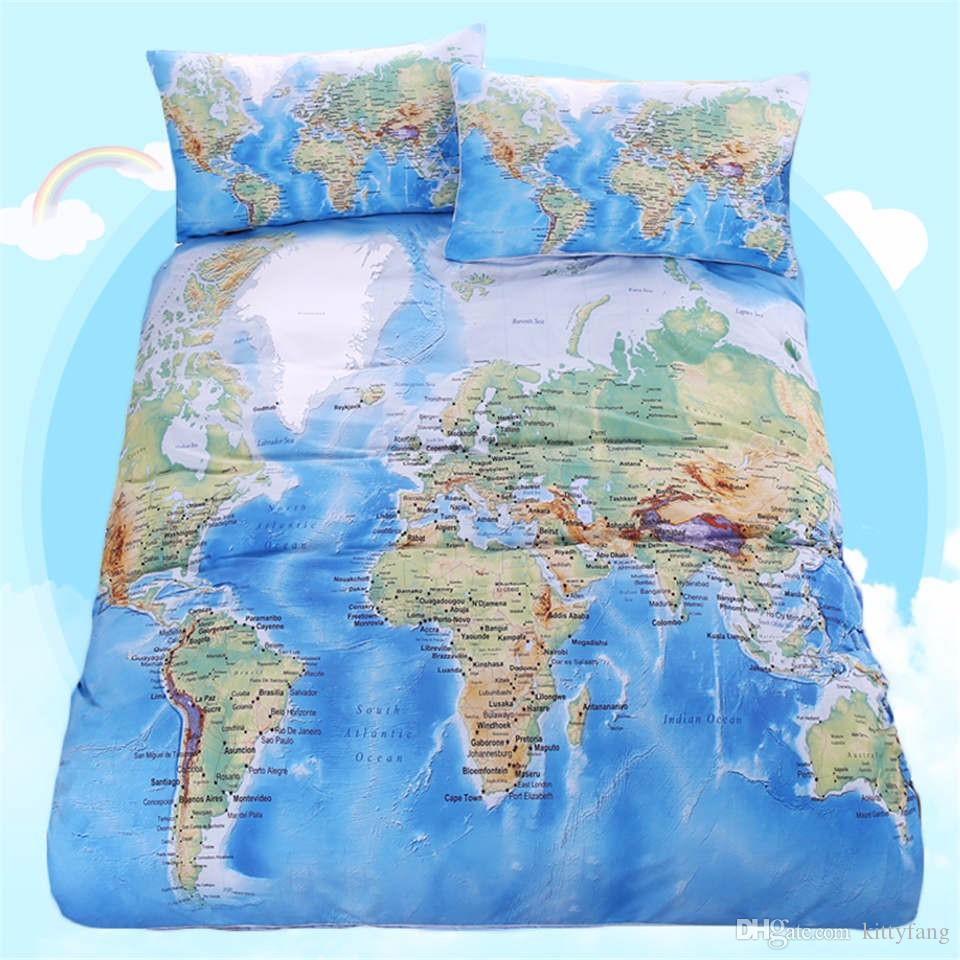 world map bedding set vivid printed blue bed cover twill cozy home textiles multi sizes luxury comforter set bedding sets queen cheap from kittyfang