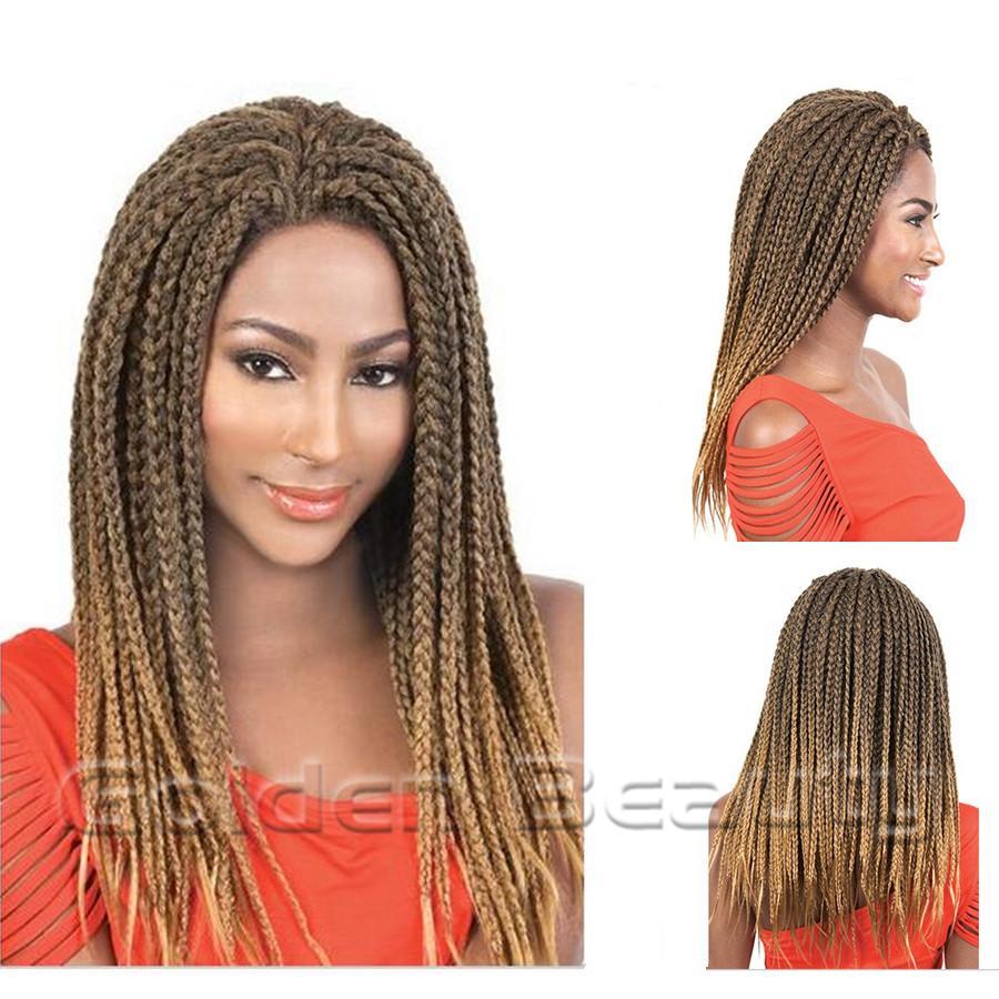 Wholesale 18inch Medium Length Hair Ombre Box Braids Hair Extensions
