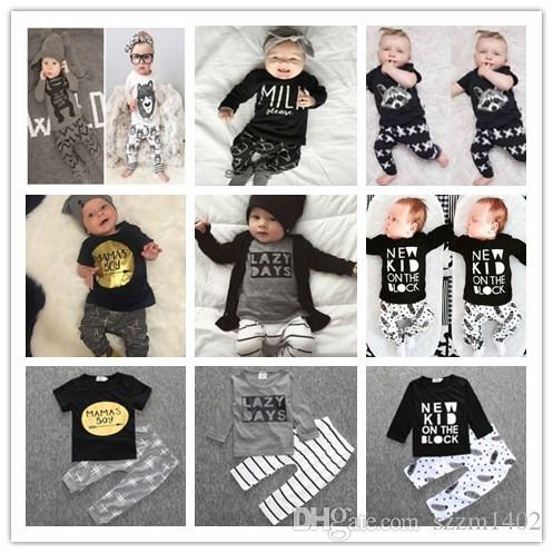 summer newborn baby clothes set baby boy clothes jumpsuit mamas boy letter print infant clothing costume short t shirt pant from szzm1402