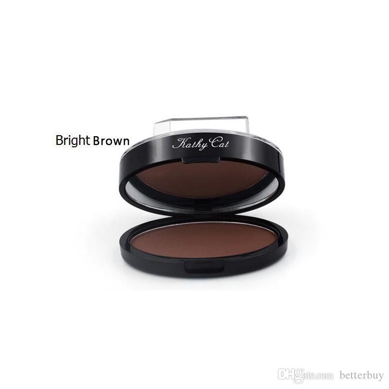 High Quality kathy cat eyebrow powder Stamp Seal Waterproof Grey Brown Eye Brow Powder with Eyebrow Stencils Brush Tools DHL Free