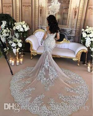 럭셔리 섹시한 쉬어 얇은 명주 그물 이브닝 가운 파란색 레이스 아플리케 높은 목 환상 긴 소매 샴페인 인어 약혼 공식적인 드레스