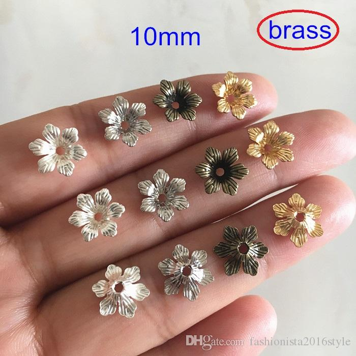 10mm Brass Flower Bead Caps,6 Petal Flower For Jewelry & Crafts Making,Gold-color/Silver-color/Steel/Bronze Color