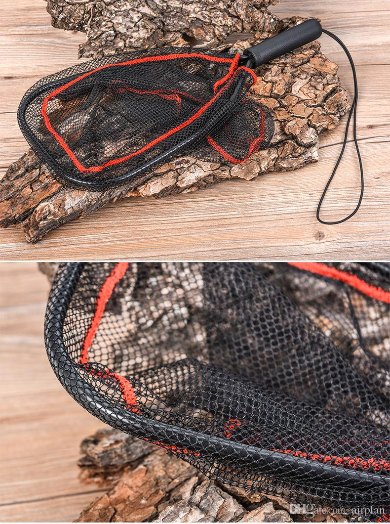 of Rubber Fly Fishing Landing Net Black Trout Small Mesh Net 155g Pesca Fishing Monofilament Hand Network Accessories Tools
