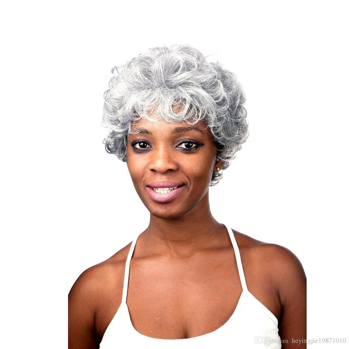 Xiu Zhi Mei 28CM Silver White Synthetic Curly Wigs for Elder Women African American Short Hair Ombre Wig Heat Resistant
