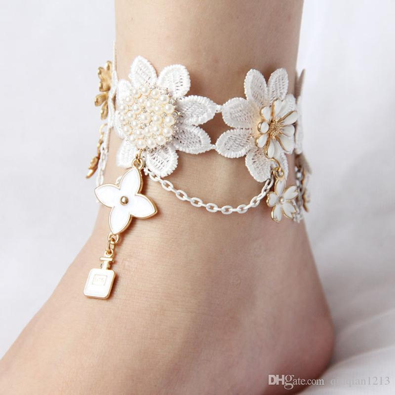 2018 Fashion Accessories Women Dance Lace Flower Ankle ...