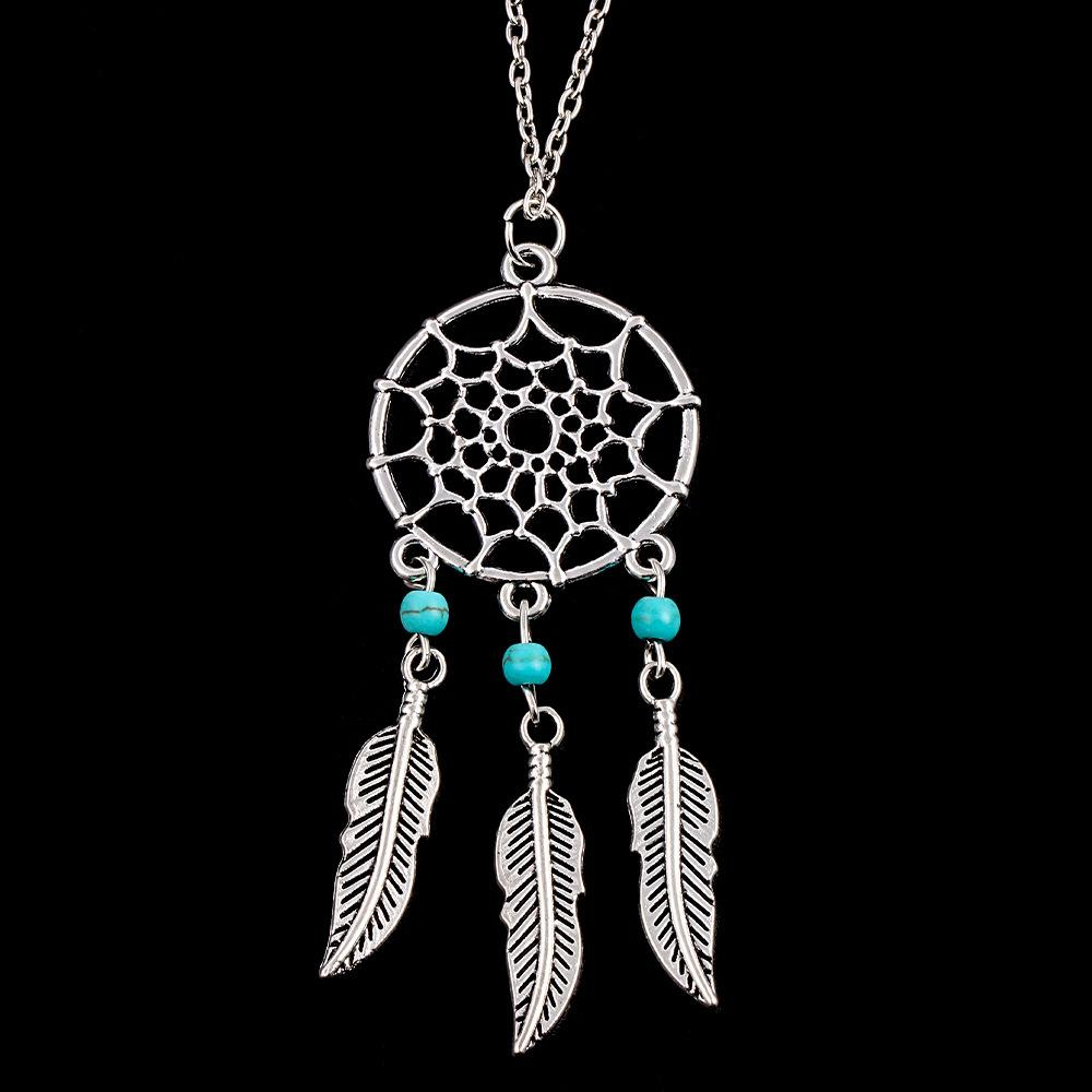 Hot style dream catcher pendant necklace 4 styles turquoise necklace leaves sweater long chain necklace factory price free shipping