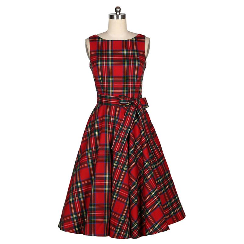 Wholesale- New Women Summer Dress Sleeveless Cotton Short Plaid ... 5fed200224