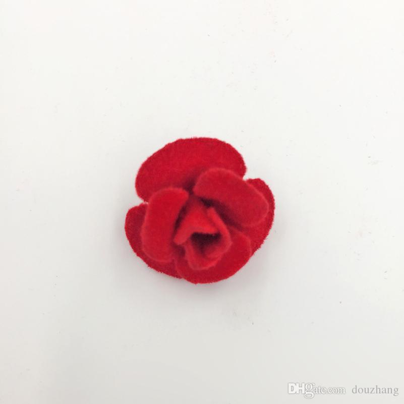 En gros 5 Couleurs Unisexe De Mode Tissu Rose Fleur Broche Pin Hommes Femmes Col Bouton Stud Broches Bijoux