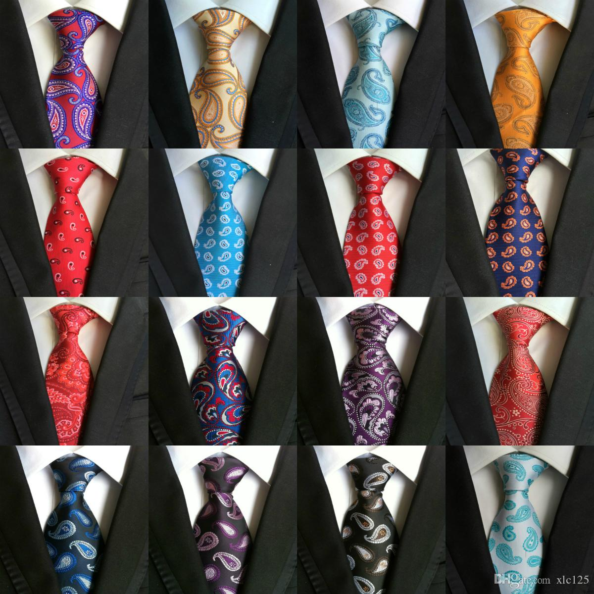 220c2bb3788d High Quality 8cm Men Ties Fashion Classic Neckties Handmade Wedding Ties  Silk Paisley Neck Tie Stripes Plaid Dots Business Ties 185 Styles Tie Bow  Tie From ...