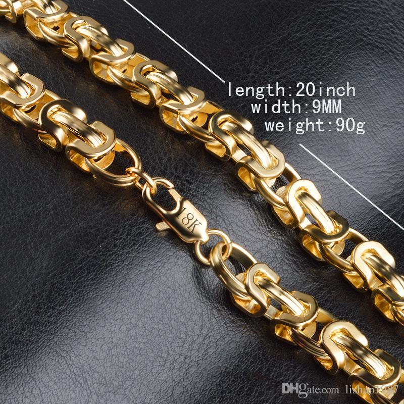 18k stämplad vintage lång guldkedja för män kedja halsband ny trendig guldfärg Bohemian smycken colar manliga halsband