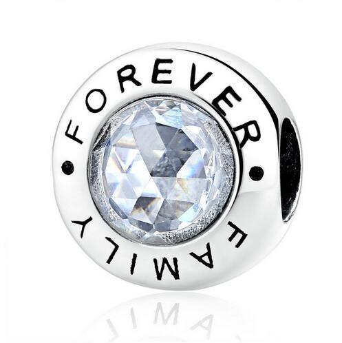 Family Forever, Clear CZ 925 Sterling Silver Charms Pandora European Bracelets Compatible