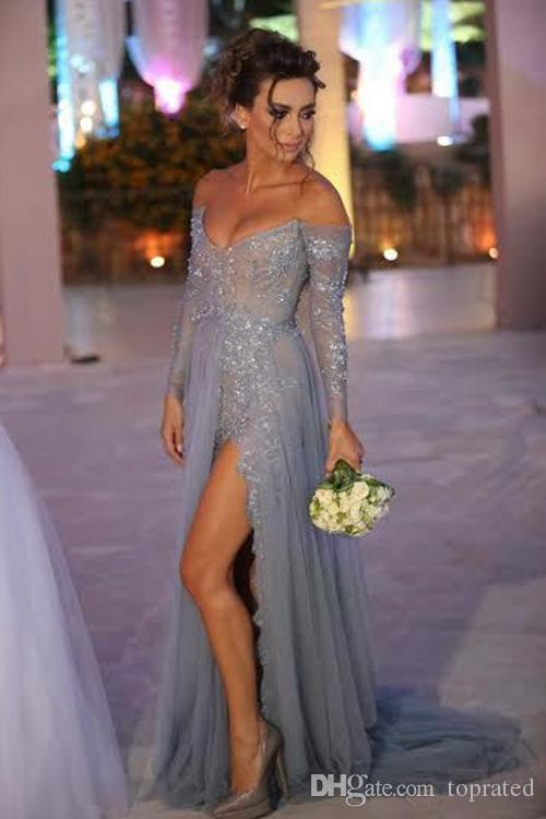6cff8594172e Pale Blue Lace 2017 Off Shoulder Prom Dresses Backless Long Sleeve Illusion  Appliques Sequins Tulle Side Split Sweep Train Evening Gowns Topshop Prom  ...