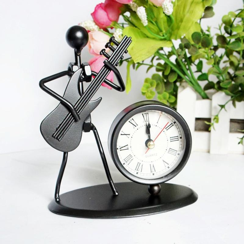 Best Whole Metal Craft Desk Clock Man Play Guitar Roman Numbers Timer Office Ornaments Business Father Boy S Birthday Gift Under 20 31