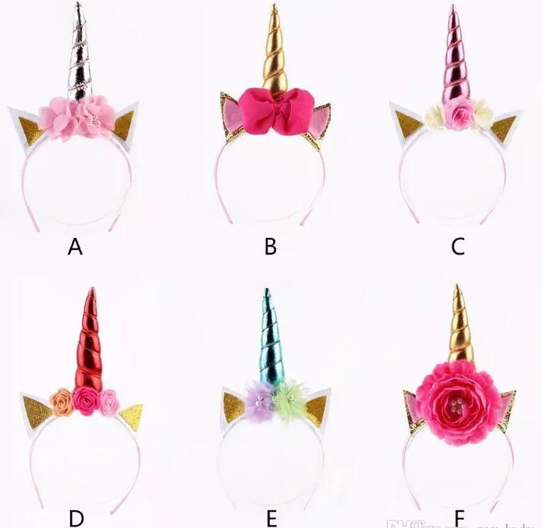 5 projetos INS coroas de flores headband meninas unicórnio chifre orelhas headband presente do partido de aniversário acessórios para o cabelo diy unicórnio partido