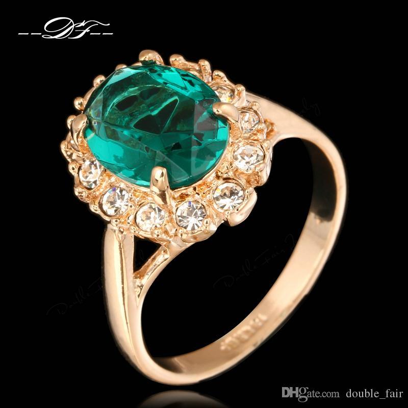 28121593b8af Compre Elegantes Anillos De Diamantes De Imitación Verdes Para Las Mujeres  18 K Chapado En Oro Rosa Marca De Moda De Cristal De Imitación De Piedras  ...