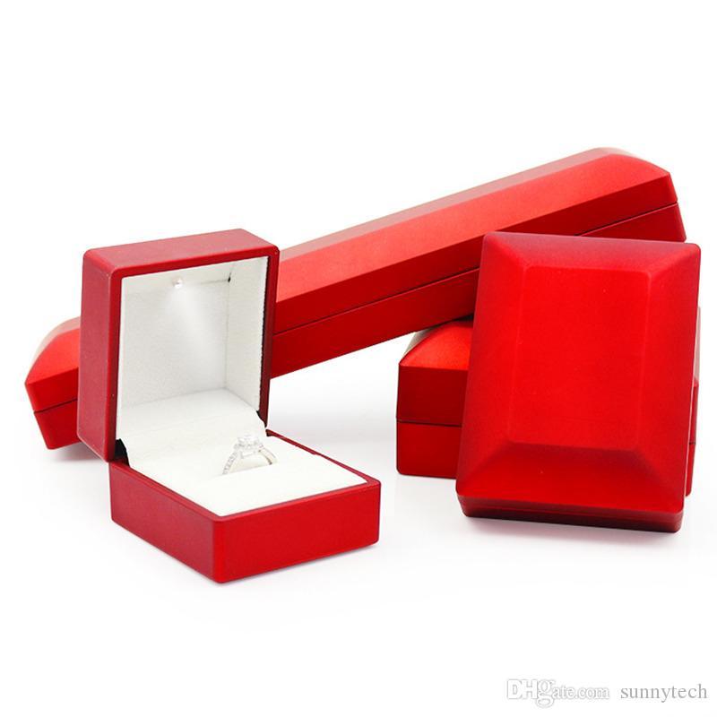 Gioielli Diamante Anello Earring Box Led Led Emittente Emissione di ferro Stoccaggio Stoccaggio Nozze Sposa proporre il regalo di fidanzamento F2017668