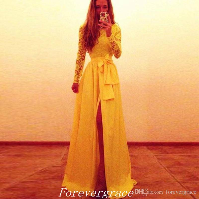 Seksi Sarı Yan Yarık Uzun Kollu Balo Elbise Yüksek Kalite şifon Sashes Örgün Kadın Giyim Pageant Parti Kıyafeti Custom Made Artı Boyutu