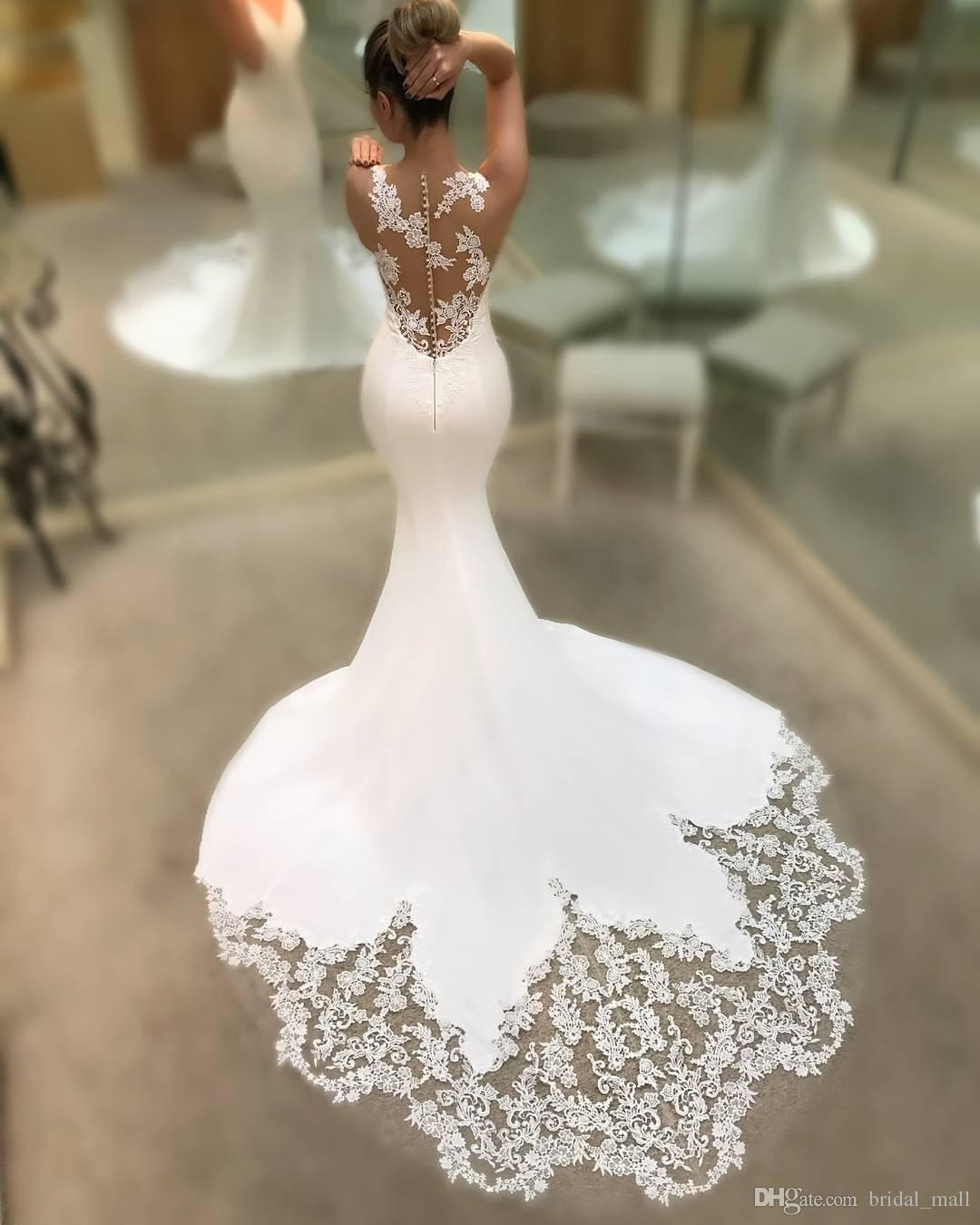 2018 Sexy V Neck Mermaid Wedding Dress Custom Made Simple