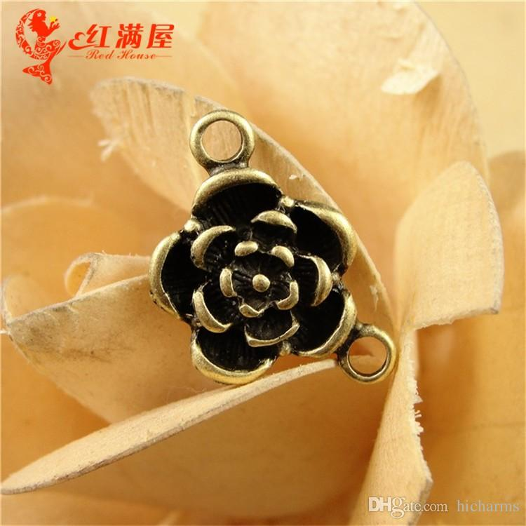 15MM Antique Bronze rose flower bud charms for bracelet, metal dangle vintage pendants for necklace, diy jewelry making accessories findings