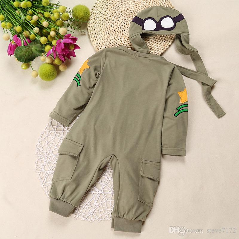 Airman Baby Rompers + Cap Boys Clothes Newborn Jumpsuits Infant Clothing Overall Bebe Roupas Pilot Costumes Green Outfits Tops Bodysuits