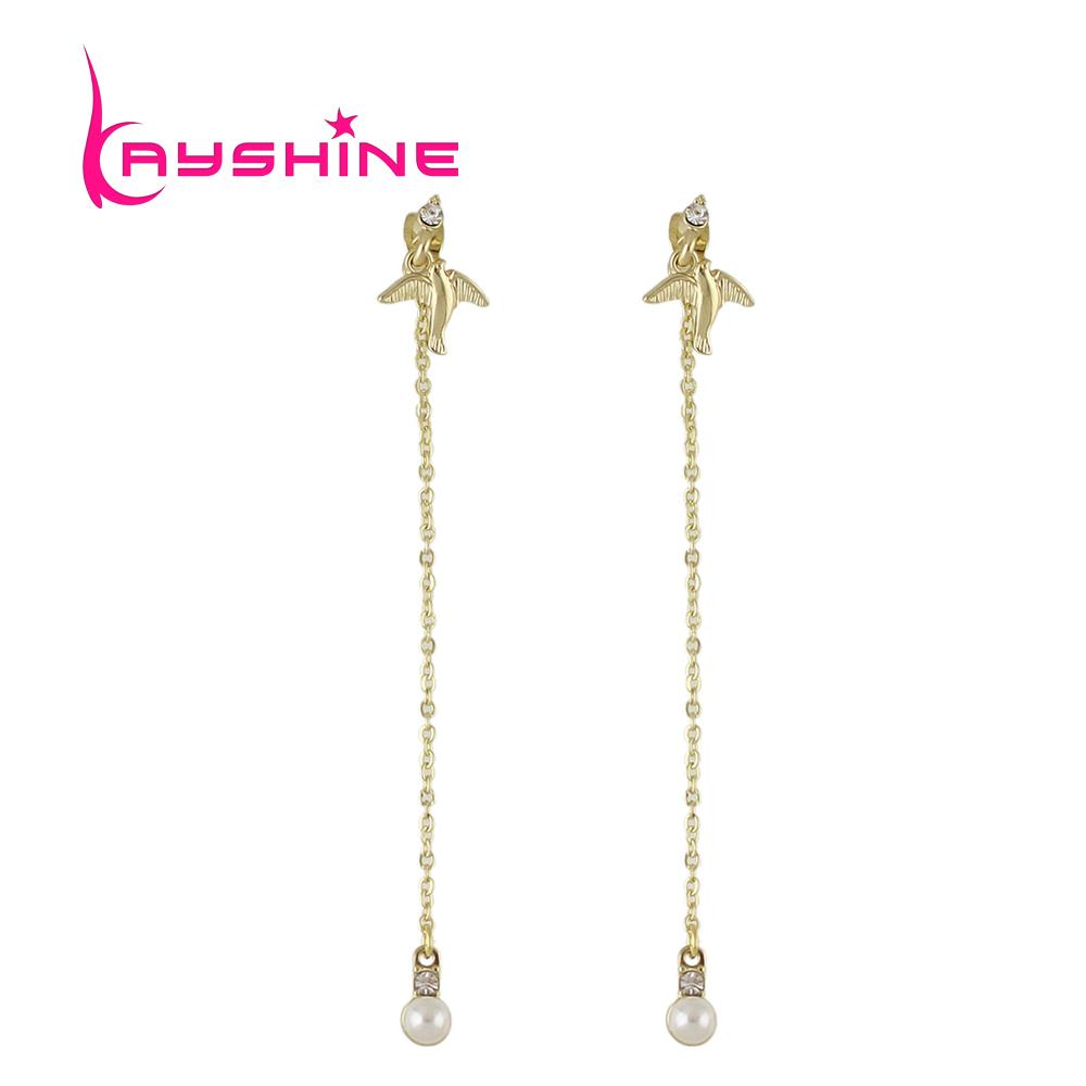 2018 Gold Color Chain Long Hanging Earrings For Women Simulated ...